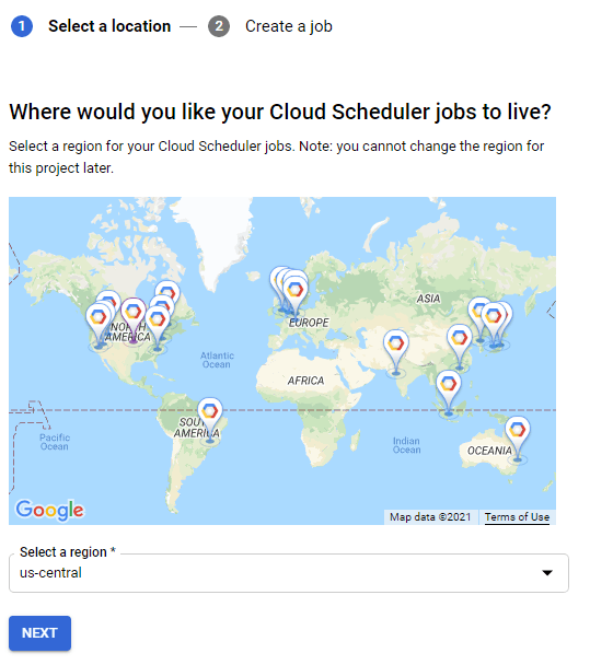 Google Cloud Scheduler Region