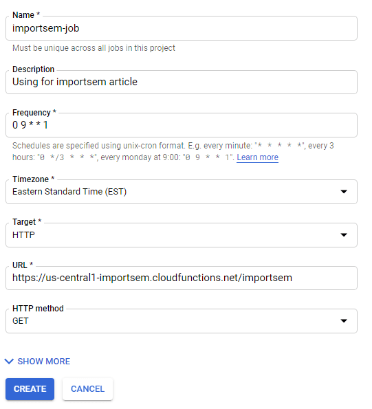 Google Cloud Scheduler Cron Setup